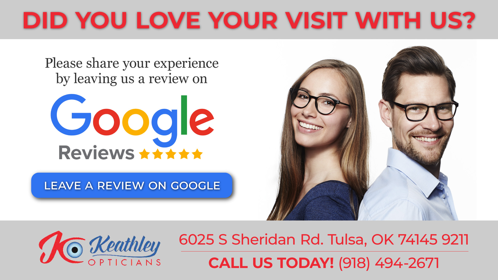 Review Us in Tulsa, OK - Keathley Opticians